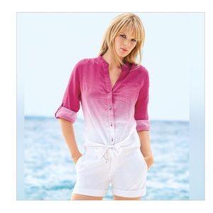 Plus Size Pink Ombre Tie-Front Linen Top Blouse